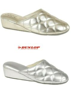 Ladies Mule Slippers Wedge Heeled Quilted Gold Silver DUNLOP Size 3 4 5 6 7 8