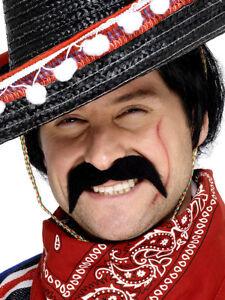 Mexican Tash Black Mens Western Bandit Moustache Fancy Dress Accessory