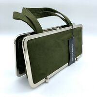 Sondra Roberts Green Suede Leather Clutch Handbag Bag Purse