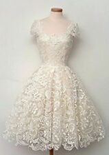 Vintage 1950's Ivory Lace Knee Length Wedding Dress Ball Gown Beach Bridal Gowns