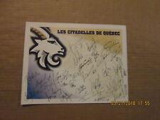 Ahl Quebec Citadelles Vintage Defunct 2001-2002 Facsimile Autographed Logo Sheet