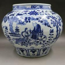 Chinese Old Blue and White Guiguzi Down Hill Figure Story Pattern Porcelain Jar