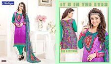 India Pakistan Cotton Embroidery Salwar Kameez Ethnic  Purple  /Yellow 1 x Suit
