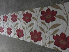 Cream red wine beige flowers leaves crafts remnant fabric piece 100% cotton