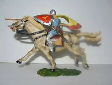 "Vintage Elastolin Medieval Mounted Knight Jousting on Horse Cape 4"" x 6"""