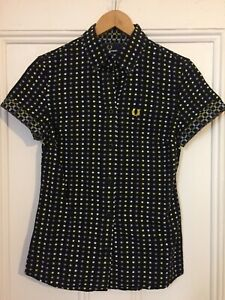 NEW!!! Was $150 Med Knit Black/Grey/Yellow Fred Perry Womens Shirt Size 8
