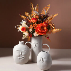 Nordic Ceramic Vase Minimalist Abstract Human Face White Home Decor Figurine NEW
