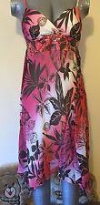 BAY, UK 12, BROWN & PINK FLORAL PRINT V-NECK SUMMER DRESS, SEQUINS, PRE-LOVED