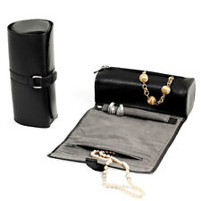 Bey Berk BLACK Leather Jewelry Roll w/Zippered Compartments Watches/Bracelets