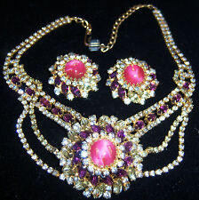 VTG JULIANA FOR HOBE COPPER SPRINKLE CRYSTAL RHINESTONE NECKLACE EARRING SET