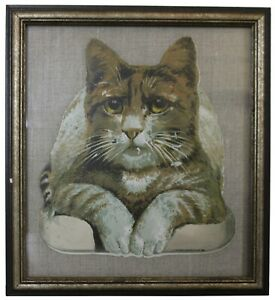 Antique Victorian J.H. Bufford's Sons Chromolithograph Cat Trading Card Print
