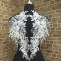 1Pair Lace Wing Applique Trim Embroidery Sewing Motif Wedding Bridal DIY Crafts