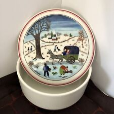 "Villeroy Boch Naif Christmas 4"" Lidded Candy Dish Trinket Box Village Snow Scene"