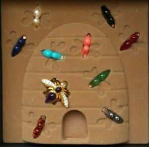 Joan Rivers Bumble Bee Interchangeable Gem Brooch Pin EUC Signed Original Box