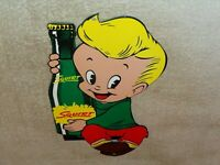 "VINTAGE ""DRINK SQUIRT W/ BOY & BOTTLE"" 12"" METAL SODA, POP, GASOLINE & OIL SIGN!"