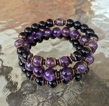 Black Onyx & Amethyst 8mm Wrist Mala Beads Healing Bracelet - Set of 3 Bracelets