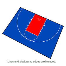 44ft x 29ft Outdoor Basketball Half Court Kit-Lines and Edges Included-Blue/Red