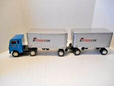 Tin Litho 'TC Transcon Delivery'  Friction Tractor and Double Van Trailers