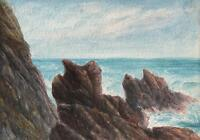 ROCKY COASTLINE BUDE CORNWALL Antique Watercolour Painting c1908