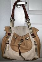 B. MAKOWSKY Soft Pebbled Leather Ivory Tan Shoulder Bag Hobo Tote Satchel Purse