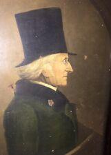 """Huile sur toile - Portrait profil homme gentleman """"lunettes à tempes"""" XVIII-XIX"""