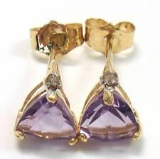 NICE 10KT SOLID GOLD AMETHYST & DIAMOND EARRINGS   E938