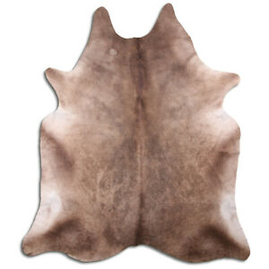 Real Cowhide Rug Dark Champagne Size 6 by 7 ft, Top Quality, Large Size