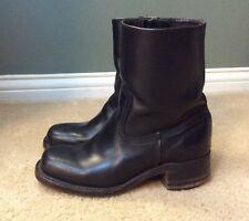 Frye Short Boots Ankle Booties, Black Leather, Low Heel, Inside Zip, 6.5 M