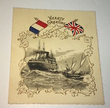 Rare Antique British / French Patriotic Nautical Christmas Hearty Greetings Card