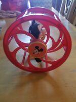 Vintage WALT DISNEY Plastic Mickey Mouse Rolling Wheel Toy