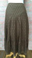 Etcetera Carlisle Brown Eyelet Skirt 2 100% Cotton Ruffle Hem Broom