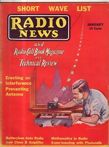 1933 Radio News January - Pickle bottle photo-cell; auto radios;  Index for 1932