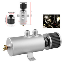 Oil Catch Reservoir Breather Can Tank+Filter Kit Cylinder Aluminum Engine Silver