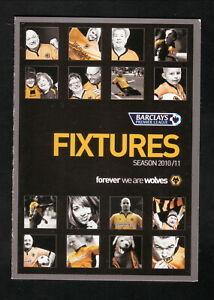 Wolverhampton Wanderers FC Wolves--2010-11 Pocket Schedule--Premier Legue