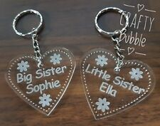 Personalised acrylic engraved heart big/Little Sister key ring engraved