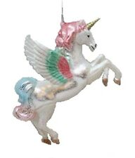 December Diamonds Blown Glass With Plastic Overlay Unicorn with Wings Ornament