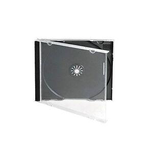 200 CD DVD 10.4mm Standard Single Jewel Case Box Black Removable Tray