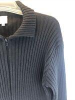 Von Saken Women's Ribbed Knit Long Sleeve Zip Up Cardigan Sweater Black 2