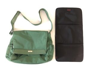 TUMI Diaper Bag with Changing pad. Green /Pink- Messenger Style HARD TO FIND!