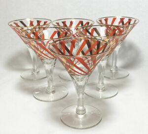 Vintage Antique Gold Stripe 1920's Martini Glasses Set of 6