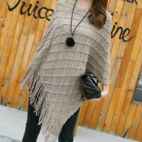 Ladies Knit Poncho Cape Wrap Shawl Sweater Pullover Batwing Fringe Tassel Winter