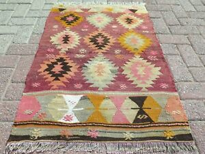 "Vintage Turkish Small Kilim, Door Mat, Bathmat, Small Rug Carpet Teppich 27""X41"""