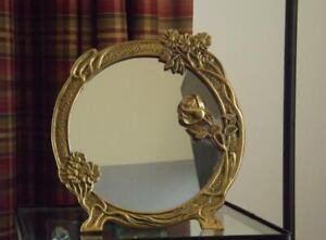 Art Deco Nouveau Brass Round Mirror Floral Tabletop