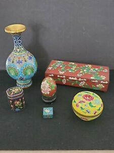 Vintage Cloisonne Enamel LOT Lidded Box Vase Trinket Box Egg etc