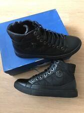 Armani Jeans Hi Tops Trainers Black Size 39 Uk 6 BNIB £135