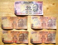 India One 50 & Four 10 Rupees Banknotes (Mahatma Gandhi motif)