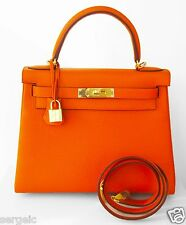 CLASSIC! NEW Hermes KELLY 28 cm Orange leather shoulder Bag strap GHW Gold