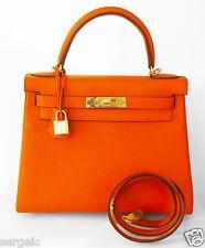 Klassiker! NEU Hermes Kelly 28 cm Orange Leder Schultertasche Trageriemen GHW Gold