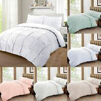 Cartier 100% Egyptian Cotton 200 Thread Percale Pintuck Duvet Cover Bedding Set