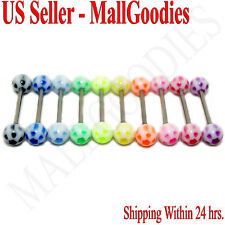 W056 Acrylic Tongue Rings Barbells Flower Stars LOT 10